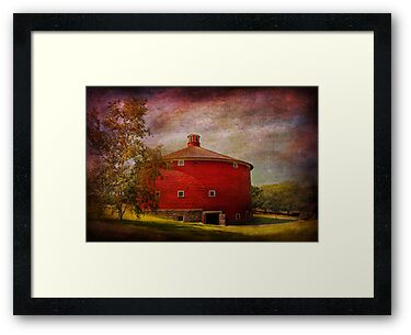 Farm - Barn - Red round barn  by Mike  Savad