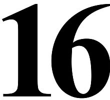 Number 16 in Black Times New Roman Serif Font Typeface by ukedward