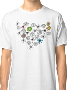 Black and White Flowers Classic T-Shirt