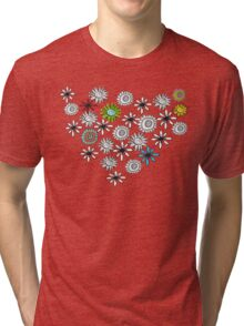 Black and White Flowers Tri-blend T-Shirt