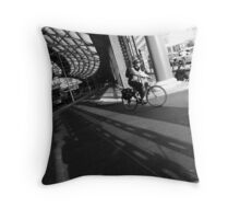 Lime Street Station - Cyclist Throw Pillow