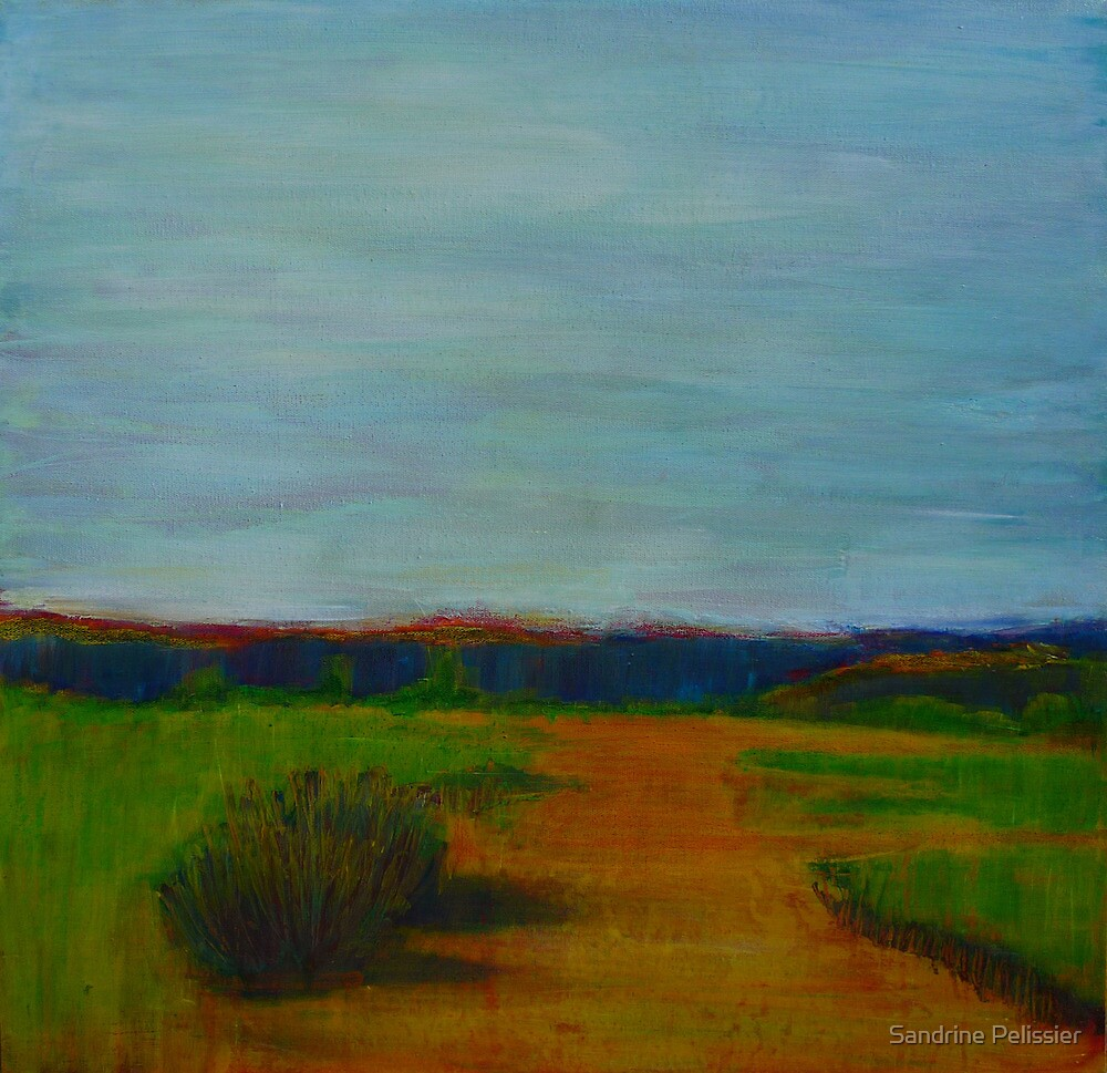 Through the Rolling Fields, mixed media on canvas by Sandrine Pelissier
