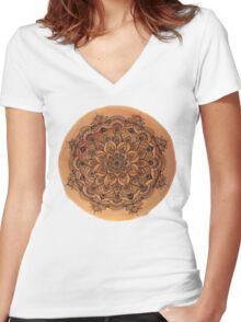 Red Mandala Transparent Background Women's Fitted V-Neck T-Shirt