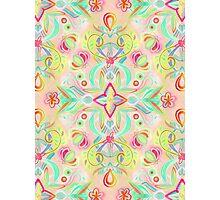 Soft Neon Pastel Boho Pattern Photographic Print