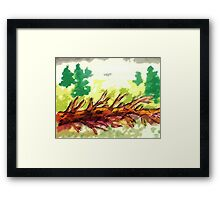 Fallen tree #2, watercolor Framed Print