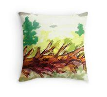 Fallen tree #2, watercolor Throw Pillow
