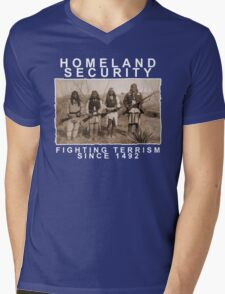 Homeland Security funny native amercan indian black tee shirt tshirt Mens V-Neck T-Shirt