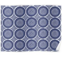 Blue Paisley Pattern Poster