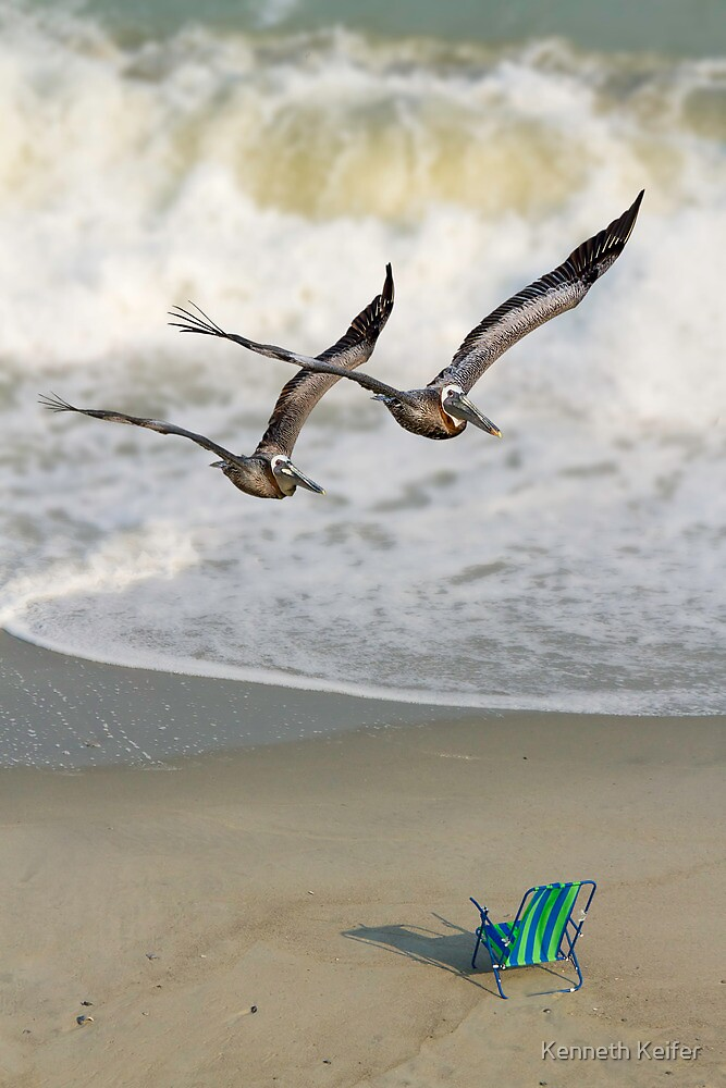 Pelican Pair with Surf and Beach Chair by Kenneth Keifer