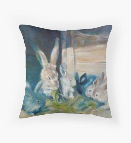 Bunny Picnic Throw Pillow