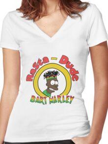Rasta - Dude Bart Marley Women's Fitted V-Neck T-Shirt