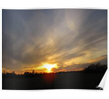 The setting sun in Fairview Alberta Poster