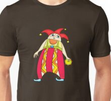 Cheerful clown with a tambourine Unisex T-Shirt