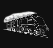 My vector line-art white on black drawing of the Mallard Steam Locomotive Kids Clothes
