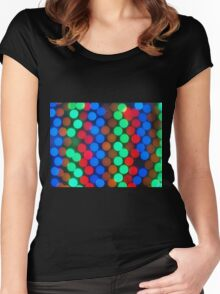 Defocused and blurry image of multicolored lights Women's Fitted Scoop T-Shirt