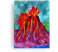 Valcano in full eruption, watercolor Canvas Print