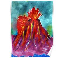 Valcano in full eruption, watercolor Poster