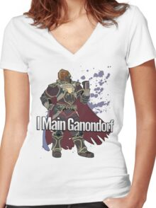I Main Ganondorf - Super Smash Bros. Women's Fitted V-Neck T-Shirt
