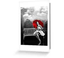 Rain on my red Umbrella Greeting Card