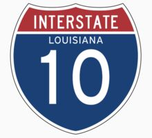 Interstate Sign 10, Louisiana One Piece - Short Sleeve