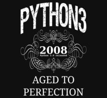White on Black Vintage Design for Python 3 Advocates One Piece - Long Sleeve