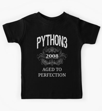 White on Black Vintage Design for Python 3 Advocates Kids Tee