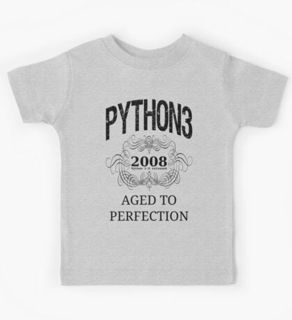 Black on Grey Vintage Design for Python 3 Advocates Kids Tee