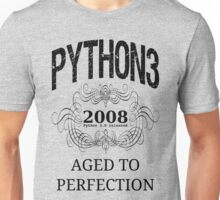 Black on Grey Vintage Design for Python 3 Advocates Unisex T-Shirt