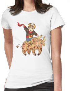 Man Astride Bull Womens Fitted T-Shirt