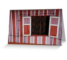 Pink Red Striped Window Greeting Card
