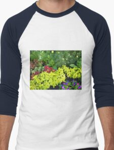 Top view of multicolored and colorful flower bed Men's Baseball ¾ T-Shirt