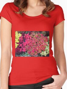 Top view of multicolored and colorful flower bed Women's Fitted Scoop T-Shirt