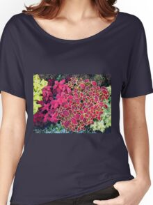 Top view of multicolored and colorful flower bed Women's Relaxed Fit T-Shirt
