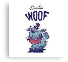 Woof Top Hat Dog Canvas Print