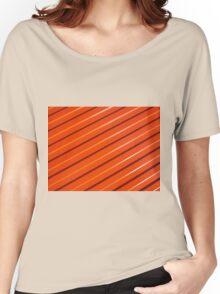 Orange metal corrugated sheet metal Women's Relaxed Fit T-Shirt