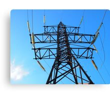 Bottom view of the high-voltage metal tower Canvas Print