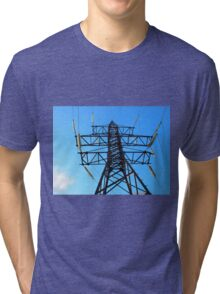 Bottom view of the high-voltage metal tower Tri-blend T-Shirt