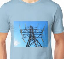 Bottom view of the high-voltage metal tower Unisex T-Shirt