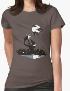 Surprise Ninja Attack on a Moonlit Night Womens Fitted T-Shirt