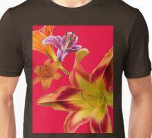 Larravide Floral Pattern Red  Unisex T-Shirt