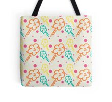 Doodle Flowers and Polka Dots Pattern Tote Bag
