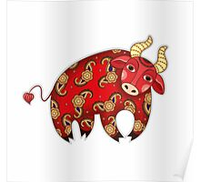 Red Decorative Bull Poster