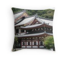 Buddhist temple on the mountain slope, Kamakura, Japan Throw Pillow