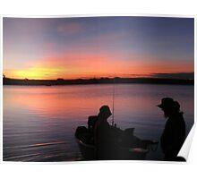 Boat Fishin' at Sunset Poster