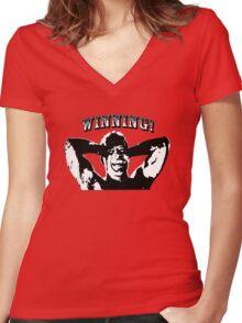 Die Hard: winning! Women's Fitted V-Neck T-Shirt
