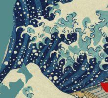 Godzilla Kanagawa wave with backgroud Sticker