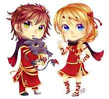 Chibi Hiccup and Astrid Photographic Print