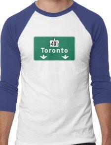 Toronto, Road Sign, Canada  Men's Baseball ¾ T-Shirt