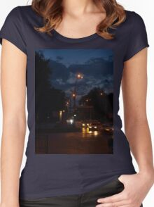 Cars with headlights on driving on city road Women's Fitted Scoop T-Shirt