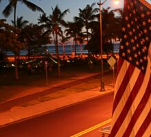 Waikiki Beach by Night, Honolulu OAHU Sticker